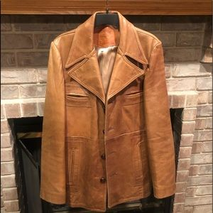 ROCKIN VINTAGE GARY GORDON sz42 BROWN LEATHER COAT